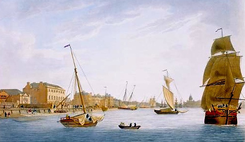the Marine School (left) in Dublin, as recorded by James Malton
