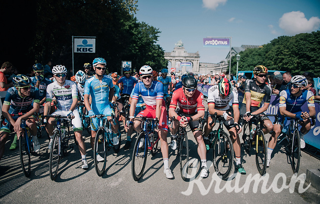 race start line with: Marcel Kittel (DEU/QuickStep Floors), Oliver Naesen (BEL/AG2R-LaMondiale), Marcus Burghardt (DEU/BORA-hansgrohe), André Greipel (DEU/Lotto-Soudal) & Arnaud Démare (FRA/FDJ)<br /> <br /> 97th Brussels Cycling Classic (1.HC)<br /> 1 Day Race: Brussels > Brussels (201km)