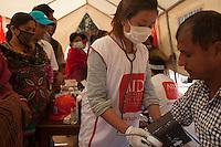 A man receives treatment in a Medical camp at Bhaktapur, near Kathmandu, Nepal. May 03, 2015