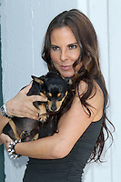 Kate del Castillo with her dog Lola during the PETA billboard 'Fiercely Protect Your Animals' unveiling ceremony at The Bob Barker Building on May 10, 2012 in Los Angeles, California. ©mpi27/MediaPunch Inc