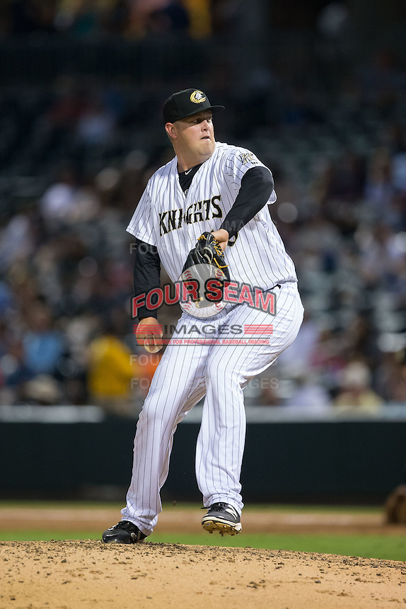 Charlotte Knights relief pitcher Matt Lollis (46) in action against the Pawtucket Red Sox at BB&T BallPark on July 6, 2016 in Charlotte, North Carolina.  The Knights defeated the Red Sox 8-6.  (Brian Westerholt/Four Seam Images)