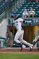Dayton Dragons Allan Cerda (24) hits a double during a game against the Fort Wayne TinCaps on August 25, 2021 at Parkview Field in Fort Wayne, Indiana.  (Mike Janes/Four Seam Images)