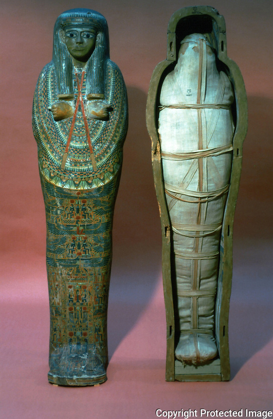 Egyptian Mummies and Coffins:  Mummy of a priestess.  21st Dynasty, 1085-935 BC.  Trustees of the British Museum 1986.  Reference only.