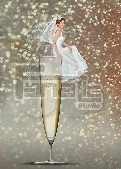 Illustrative image of bride sitting on champagne flute representing wedding celebration