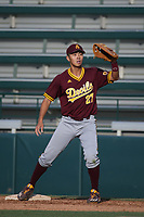 Lyle Lin (27) of the Arizona Sun Devils catches a throw before a game against the Southern California Trojans at Dedeaux Field on March 24, 2017 in Los Angeles, California. Southern California defeated Arizona State, 5-4. (Larry Goren/Four Seam Images)