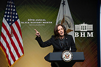 United States Vice President Kamala Harris delivers remarks at the 40th Annual Black History Month Virtual Celebration hosted by US House Majority Leader Steny Hoyer (Democrat of Maryland) in the South Court Auditorium of the White House in Washington, DC on Saturday, February 27, 2021.<br /> Credit: Rod Lamkey / Pool via CNP /MediaPunch