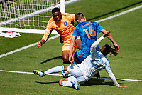 LOS ANGELES, CA - MAY 29: Sean Johnson #! and James Sands #16 of NYCFC defend their ground from advancing Raheem Edwards #44 of LAFC in the box during a game between New York City FC and Los Angeles FC at Banc of California Stadium on May 29, 2021 in Los Angeles, California.