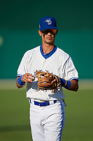 Dunedin Blue Jays Kevin Vicuna (3) during warmups before a Florida State League game against the Lakeland Flying Tigers on April 18, 2019 at Jack Russell Memorial Stadium in Clearwater, Florida.  Dunedin defeated Lakeland 6-2.  (Mike Janes/Four Seam Images)