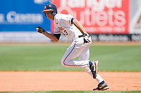 Jarrett Parker #3 of the Virginia Cavaliers takes off for second base against the Boston College Eagles at the 2010 ACC Baseball Tournament at NewBridge Bank Park May 26, 2010, in Greensboro, North Carolina.  The Cavaliers defeated the Eagles 6-4.  Photo by Brian Westerholt / Four Seam Images