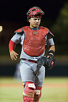 Surprise Saguaros catcher Jeremy Martinez (4), of the St. Louis Cardinals organization, during an Arizona Fall League game against the Scottsdale Scorpions at Scottsdale Stadium on October 15, 2018 in Scottsdale, Arizona. Surprise defeated Scottsdale 2-0. (Zachary Lucy/Four Seam Images)