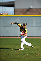 Dominic Johnson (11) of Edmond Santa Fe High School in Edmond, Oklahoma during the Baseball Factory All-America Pre-Season Tournament, powered by Under Armour, on January 14, 2018 at Sloan Park Complex in Mesa, Arizona.  (Zachary Lucy/Four Seam Images)