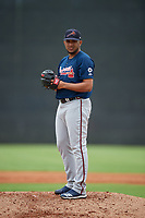Atlanta Braves Huascar Ynoa (62) during a Minor League Spring Training game against the New York Yankees on March 12, 2019 at New York Yankees Minor League Complex in Tampa, Florida.  (Mike Janes/Four Seam Images)