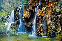 waterfalls, River Cuervo, Nacimiento rio Cuervo, Cuenca, Spain.