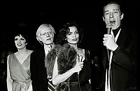 Minelli Warhol Jagger Halston6861.JPG<br /> New York, NY 1978 FILE PHOTO<br /> Liza Minelli, Andy Warhol, Bianca Jagger, Halston<br /> Studio 54<br /> Digital photo by Adam Scull-PHOTOlink.net<br /> ONE TIME REPRODUCTION RIGHTS ONLY<br /> NO WEBSITE USE WITHOUT AGREEMENT<br /> 718-487-4334-OFFICE  718-374-3733-FAX