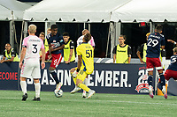 FOXBOROUGH, MA - SEPTEMBER 04: An indirect free kick deflects off the foot of Maciel #6 of New England Revolution II as Joe Rice #51 of New England Revolution II moves forward to stop it during a game between Forward Madison FC and New England Revolution II at Gillette Stadium on September 04, 2020 in Foxborough, Massachusetts.