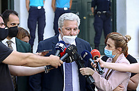 Pictured: Thanassis Charmanis, the solicitor representing the family of Caroline Crouch speaks to members of the media outside the magistrate's court in Athens, Greece. Tuesday 22 June 2021<br /> Re: Charalambos (Babis) Anagnostopoulos, the husband of Caroline Crouch, who was killed in front of her 11 month old daughter is due to appear before a Magistrate, after being charged with her murder at their home in Glyka Nera, near Athens, Greece.<br /> The woman, 20, was allegedly first tortured and then strangled to death.