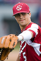 South Carolina Gamecocks center fielder Whit Merrifield (5) warms-up prior to taking on the East Carolina Pirates at Sarge Frye Field in Columbia, SC, Sunday, February 24, 2008.