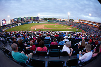 A crowd of 8,104 fans were on hand to watch the Midwest League game between the South Bend Cubs and the Lansing Lugnuts at Cooley Law School Stadium on June 15, 2018 in Lansing, Michigan. The Lugnuts defeated the Cubs 6-4.  (Brian Westerholt/Four Seam Images)