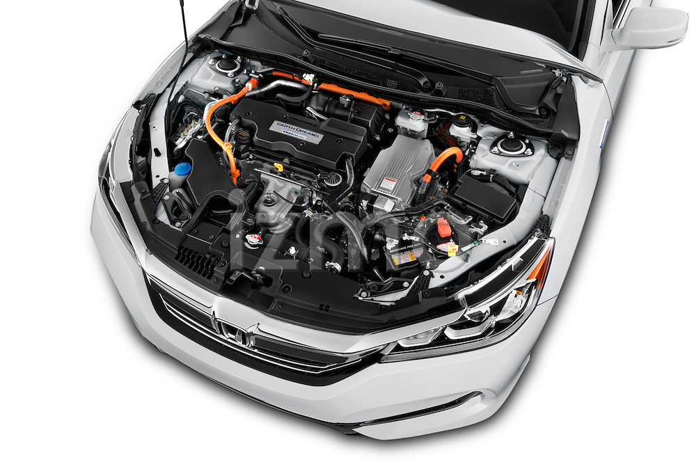 Car Stock 2017 Honda Accord Hybrid 4 Door Sedan Engine  high angle detail view
