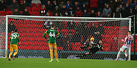 Preston North End's Declan Rudd saves a second half penalty from Stoke City's Sam Clucas<br /> <br /> Photographer Stephen White/CameraSport<br /> <br /> The EFL Sky Bet Championship - Stoke City v Preston North End - Saturday 26th January 2019 - bet365 Stadium - Stoke-on-Trent<br /> <br /> World Copyright © 2019 CameraSport. All rights reserved. 43 Linden Ave. Countesthorpe. Leicester. England. LE8 5PG - Tel: +44 (0) 116 277 4147 - admin@camerasport.com - www.camerasport.com