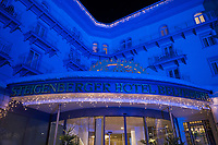 Switzerland. Canton Graubünden. Davos. Night time.  Steigenberger Grandhotel Belvédère. The luxury five star has 96 rooms and 30 suites offering charming features and modern comforts. Christmas illumination. 12.10.2020 © 2020 Didier Ruef