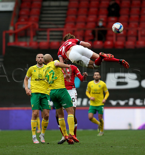 31st October 2020; Ashton Gate Stadium, Bristol, England; English Football League Championship Football, Bristol City versus Norwich; Teemu Pukki of Norwich City clashes with Tomáš Kalas of Bristol City for the aerial ball