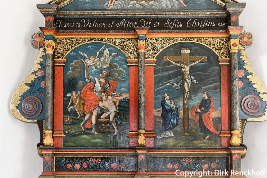 Altarvon 1596 in der Knuds Kirke (12.Jh.) auf der Insel Bornholm, Dänemark, Europa<br /> Altar from 1598 in Knuds Kirke (12.c.), Isle of Bornholm Denmark