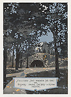 """Dome yearbook 1916, page 15:  Drawing of the Grotto of Our Lady of Lourdes.  Caption:  """"Secluded spot wherein the very air, whispers among the trees a vesper prayer.""""  Drawing by Joseph Patrick Flynn.  Poem by Rev. Thomas E. Burke, CSC.  Image from the University of Notre Dame Archives."""