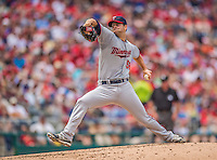 9 June 2013: Minnesota Twins pitcher Scott Diamond on the mound against the Washington Nationals at Nationals Park in Washington, DC. The Nationals shut out the Twins 7-0 in the first game of their day/night double-header. Mandatory Credit: Ed Wolfstein Photo *** RAW (NEF) Image File Available ***
