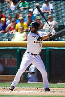 Matt Long (15) of the Salt Lake Bees at bat against the Nashville Sounds in Pacific Coast League action at Smith's Ballpark on June 22, 2014 in Salt Lake City, Utah.  (Stephen Smith/Four Seam Images)