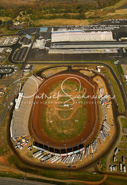 Aerial view of the Dirt Track at Lowe's Motor Speedway.