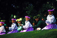 Girls performing hula at the Prince Lot Festival, Moana Lua Gardens, Oahu
