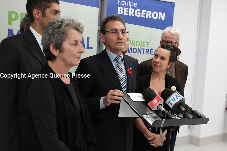 October, 2013 File Photo - Richard Bergeron, candidate for mayor of Montreal and candidates