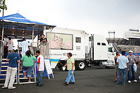 The Panasonic truck outside Giant's Stadium prior to the game. The men's national teams of the United States and Argentina played to a 0-0 tie during an international friendly at Giants Stadium in East Rutherford, NJ, on June 8, 2008.