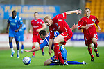 St Johnstone v Morton..24.08.10  CIS Cup Round 2.Scott Dobie loses out to Stuart Greacen.Picture by Graeme Hart..Copyright Perthshire Picture Agency.Tel: 01738 623350  Mobile: 07990 594431