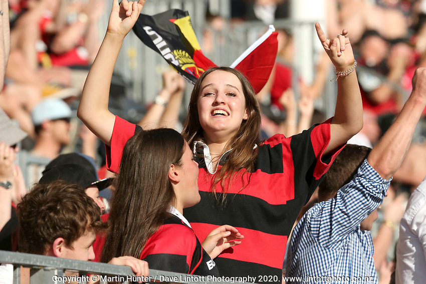 Fans watch the Mitre 10 Cup rugby match between Canterbury and Auckland at Orangetheory Stadium in Christchurch , New Zealand on Sunday, 15 November 2020. Photo: Martin Hunter / lintottphoto.co.nz