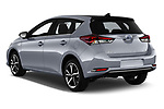 Car pictures of rear three quarter view of a 2018 Toyota Auris Hybrid Black Edition 5 Door Hatchback angular rear