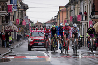 the rained down breakaway group passing through the village of Borgo d'Ale<br /> <br /> 104th Giro d'Italia 2021 (2.UWT)<br /> Stage 3 from Biella to Canale (190km)<br /> <br /> ©kramon