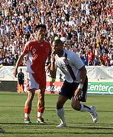 Oguchi Onyewu celebrates. The USA defeated China, 4-1, in an international friendly at Spartan Stadium, San Jose, CA on June 2, 2007.