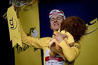 yellow jersey / GC leader Tadej Pogacar (SVN/UAE-Emirates) on the podium<br /> <br /> Stage 12 from Saint-Paul-Trois-Châteaux to Nîmes (159km)<br /> 108th Tour de France 2021 (2.UWT)<br /> <br /> ©kramon