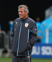 Uruguay coach Oscar Tabarez looks on during training ahead of tomorrow's Group D match vs England