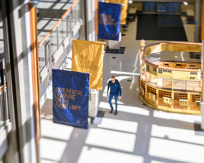 February 23, 2021; Atrium of Mendoza College of Business (Photo by Matt Cashore/University of Notre Dame)