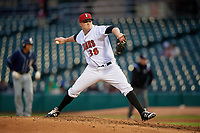 Indianapolis Indians relief pitcher Brett McKinney (38) during a game against the Toledo Mud Hens on May 2, 2017 at Victory Field in Indianapolis, Indiana.  Indianapolis defeated Toledo 9-2.  (Mike Janes/Four Seam Images)