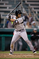 Lake Elsinore Storm catcher Marcus Greene Jr. (6) at bat during a California League game against the Modesto Nuts at John Thurman Field on May 12, 2018 in Modesto, California. Lake Elsinore defeated Modesto 4-1. (Zachary Lucy/Four Seam Images)