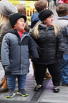"Alex Johnston and Amber Johnston fromThe cast of TLC's ""7 Little Johnstons"" filming promoting filming a visit to Times Square on January 4, 2019 in New York City."