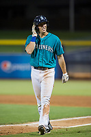 AZL Mariners right fielder Ryan Garcia (14) walks off the field between innings of the game against the AZL Royals on July 29, 2017 at Peoria Stadium in Peoria, Arizona. AZL Royals defeated the AZL Mariners 11-4. (Zachary Lucy/Four Seam Images)