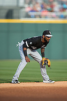 Chicago White Sox shortstop Alexei Ramirez (10) on defense against the Charlotte Knights at BB&T Ballpark on April 3, 2015 in Charlotte, North Carolina.  The Knights defeated the White Sox 10-2.  (Brian Westerholt/Four Seam Images)