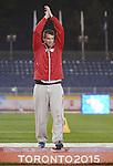 Josh Farrell, Toronto 2015 - Para Athletics // Para-athlétisme.<br /> Josh Farrell receives his Gold Medal for the Men's Shot Put F20 // Josh Farrell reçoit sa médaille d'or pour le lancer du poids masculin F20. 10/08/2015.