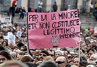 """""""Se non ora quando?"""": manifestazione contro il presidente del consiglio, per il rispetto della dignita' e dei diritti delle donne, a Roma, 13 febbraio 2011..Women attend the """"If not now, when?"""" rally against the Italian premier, to ask for respect of their dignity and rights, in Rome, 13 february 2011..The sign, depicting Silvio Berlusconi, reads: """"Under age is not alegitimate impediment for him""""..UPDATE IMAGES PRESS/Riccardo De Luca"""