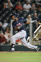 Tampa Yankees outfielder Ericson Leonora (20) at bat during a game against the Fort Myers Miracle on April 15, 2015 at Hammond Stadium in Fort Myers, Florida.  Tampa defeated Fort Myers 3-1 in eleven innings.  (Mike Janes/Four Seam Images)
